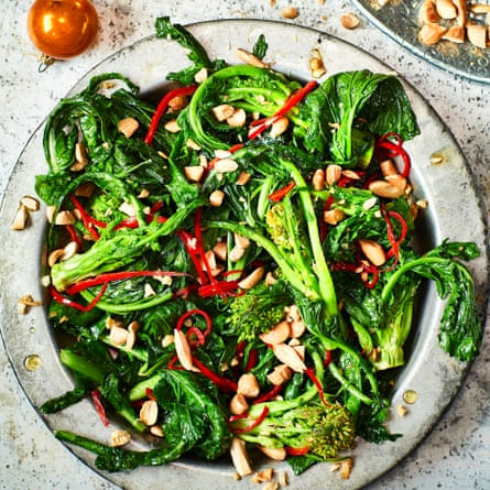 Turnip tops with garlic, chilli and almond.