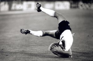 Jurgen Klinsmann takes a dive during the World Cup final July 1990 between West Germany and Argentina.