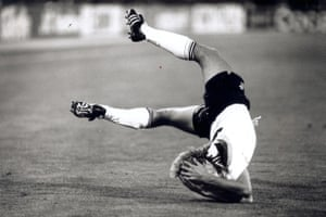 Jurgen Klinsmann hits the deck during West Germany's 1-0 win over Argentina in the 1990 final.