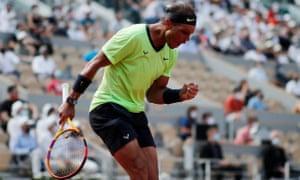 Rafael Nadal reacts during his quarter final match against Diego Schwartzman.