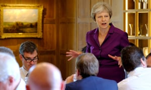 Theresa May speaks to her cabinet at the crunch Brexit summit.