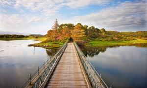 Bridge of sighs: arriving on the Isle of Eriska, via a wooden bridge from the mainland