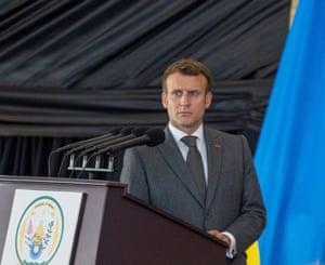 Emmanuel Macron speaks during a visit to Kigali, Rwanda.