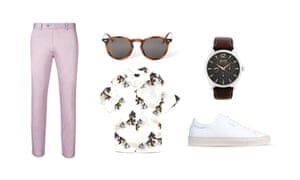 1904 trousers, burton.co.uk, shirt, £25.99, zara.com, sunglasses, £6.99, hm.com, watch, £199, bosswatches.co.uk, trainers, £160, axelarigato.com