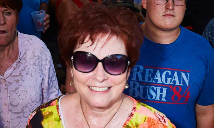 Sylvia Allen waits in line to attend a Trump rally in downtown Phoenix.