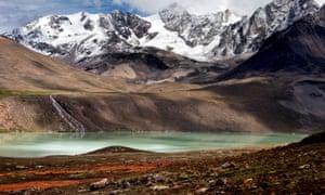 Low water levels at the Milluni Zongo reservoir near La Paz, Bolivia.