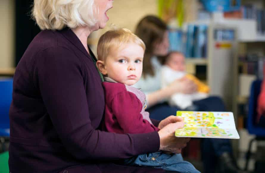 A boy at a library toddler group.