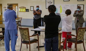 Houston, Texas - September 30, 2020: Perry McAfee, a MSF mental health officer, conducted a workshop session on wellness with staff at Focus Care at Beechnut, a long term care facility in Houston, Texas on September 30, 2020 Photo: Christopher Lee for Médecins Sans Frontières
