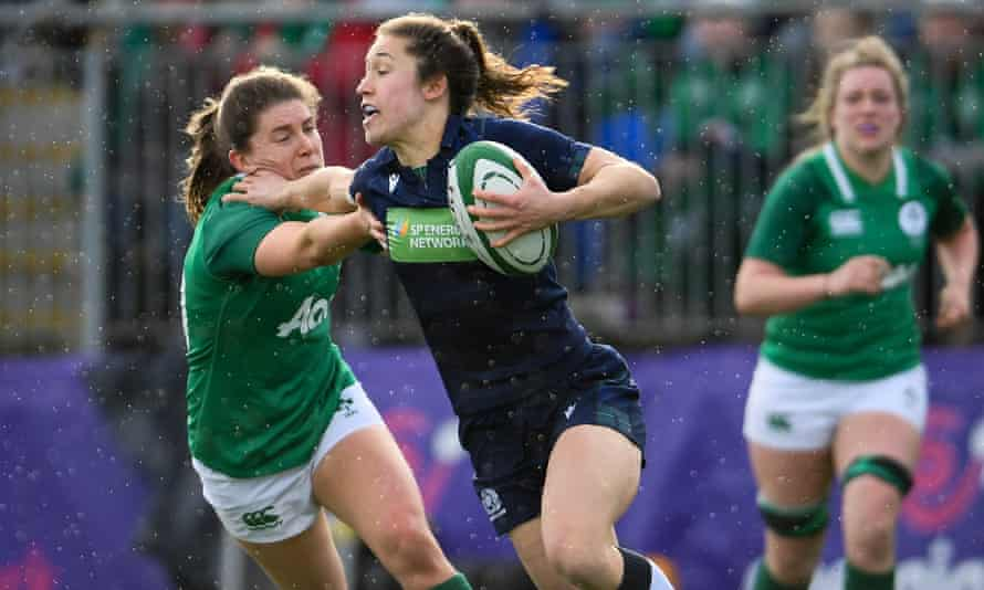 Scotland's Rhona Lloyd runs with the ball against Ireland during the Women's Six Nations in February.