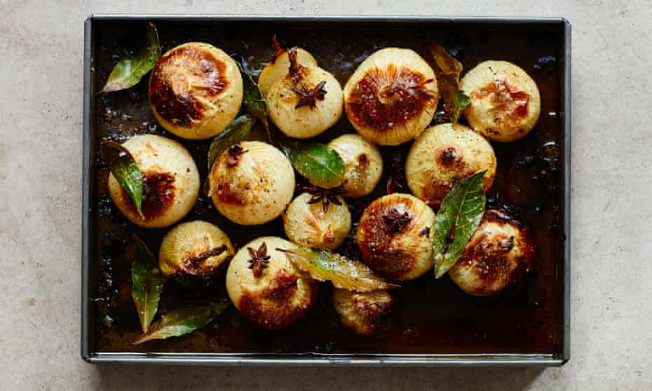 Star anise and brown butter baked onions: just add buttered noodles or pasta.