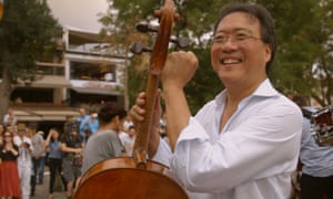 Yo-Yo Ma in a still from The Music of Strangers: Yo-Yo Ma and the Silk Road Ensemble documentary