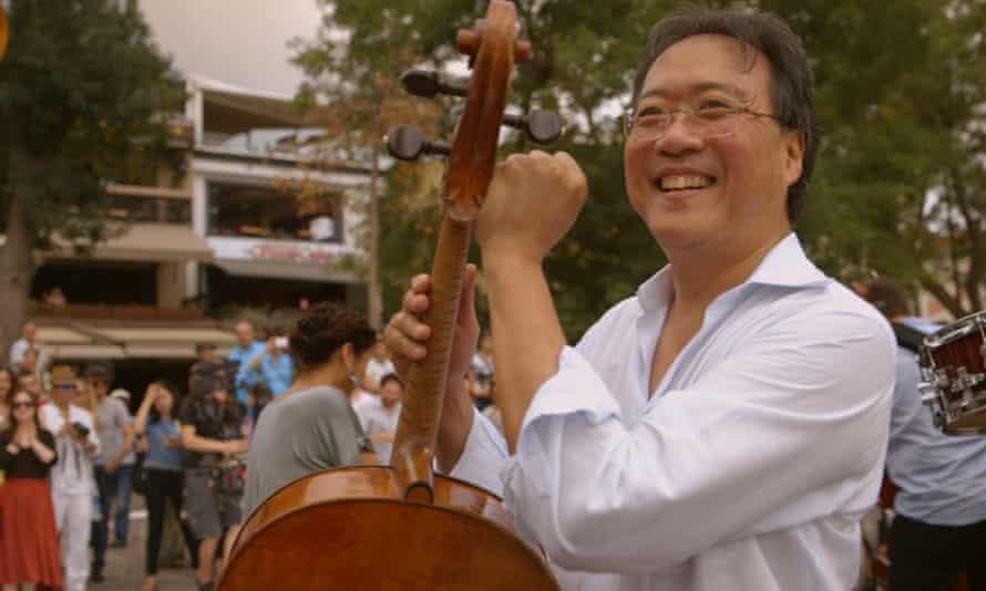 Yo-Yo Ma in a still from The Music of Strangers: Yo-Yo Ma and the Silk Road Ensemble documentary