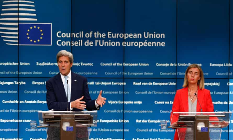 US Secretary of State John Kerry and EU foreign policy chef Federica Mogherini.