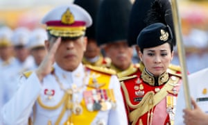 Suthida Tidjai on duty at the king's side in Bangkok earlier this month.
