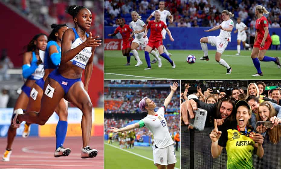 Dina Asher-Smith on her way to 200m gold in Doha; England's Ellen White scores against USA at the 2019 Women's World Cup; Sophie Molineux celebrates Australia's T20 World Cup triumph; and Megan Rapinoe of USA strikes a pose as she celebrates in the 2019 Women's World Cup final.