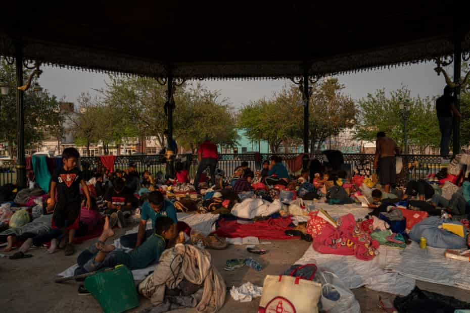 Migrant families that were sent back from the US under Title 42 in Reynosa, Mexico, on 24 March.