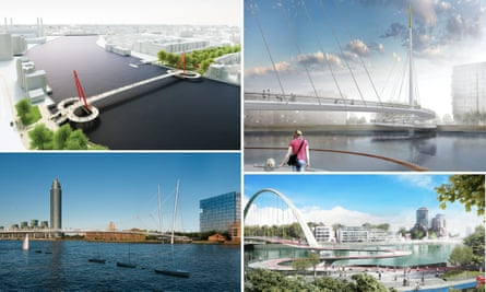The proposals for the new bridge between Nine Elms and Pimlico, from clockwise: Ove Arup, Bystrup, Ove Arup and Buro Happold.