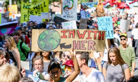 Thousands of people march at the global climate strike in Toronto.