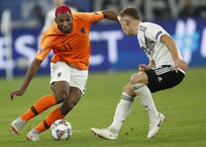 Ryan Babel during the Netherlands' Nations League match against Germany in October. He won his place back in the squad after showing fine form for Besiktas.