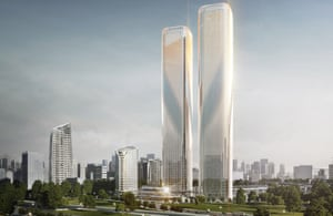 Due to be completed in 2020, the Zhejiang Gate Towers will be Hangzhou's tallest at 280m.