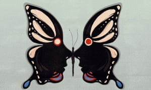 Illustration of butterfly whose wings are two faces looking at each other
