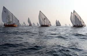 Dalma Island, UAE: Competitors sail their dhows as they take part in the Dalma sailing festival.