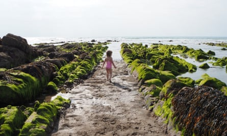 little girl at Widemouth Bay