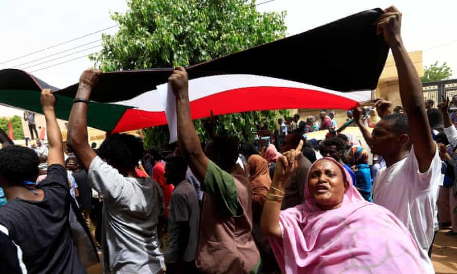 Sudanese protesters in Khartoum North