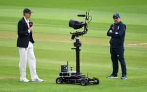 England cricket captain Joe Root talks to the Sky Sports robot after the toss at Emirates Old Trafford in Manchester