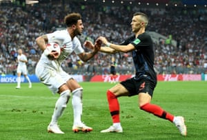 Kyle Walker of England plays keep-ball with Ivan Perisic of Croatia.