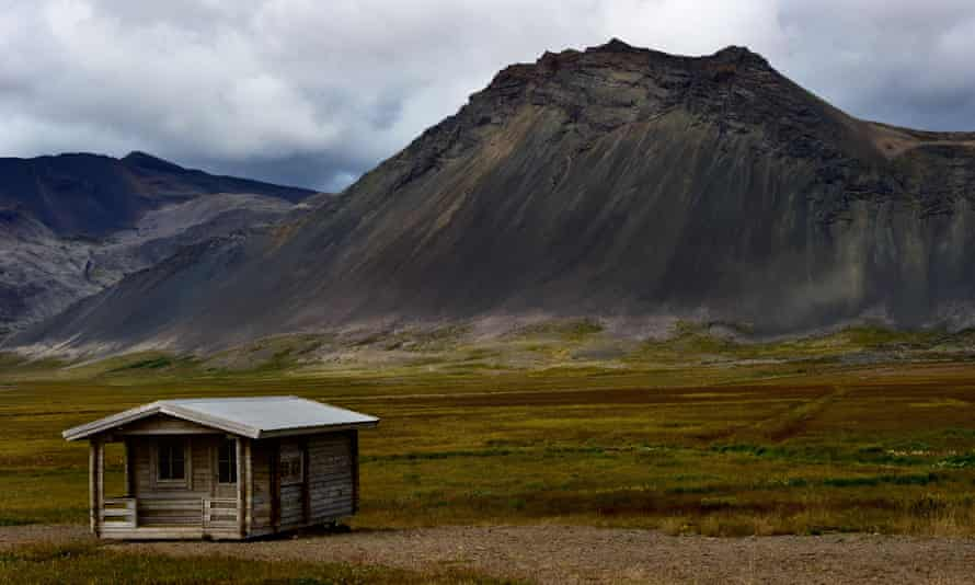 Secluded refuge: a wooden cabin for hikers, Iceland.