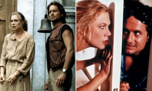 Composite of Michael Douglas and Kathleen Turner in (L) Romancing the stone and War of the Roses.