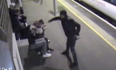 CCTV image of Alexander Bassey attacking the group at Ockendon station in Essex.