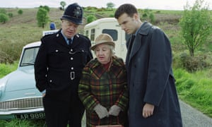 William Simons as PC Ventress, left, with Gwenllian Davies as Enid Blunkett-Forbes and Jason Durr as Mike Bradley in a 2000 episode of Heartbeat.