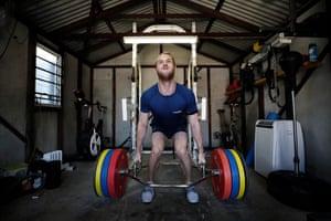 Australian breaststroke swimmer Matt Wilson trains at his home