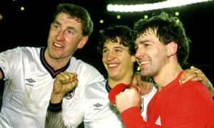 Terry Butcher, Gary Lineker and Bryan Robson celebrate after England beat Spain in Madrid in February 1987.