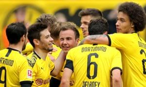 Mario Götze gives a wink after scoring for Borussia Dortmund against Fortuna Düsseldorf.