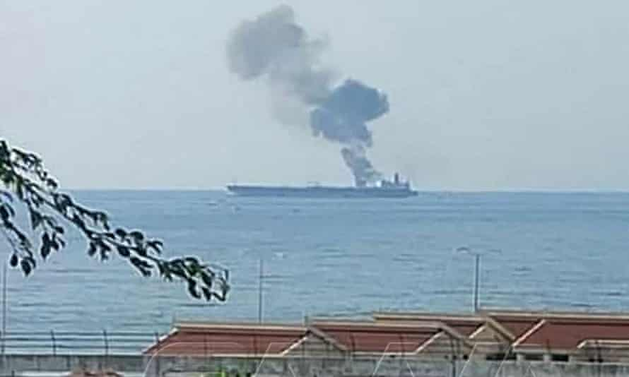 Smoke billows from a tanker off the coast of the western Syrian city of Banias on Saturday.