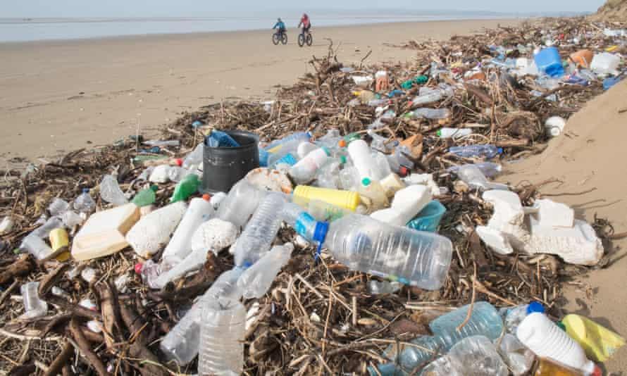 Plastic litter at Pembrey Sands, Carmarthenshire, Wales, 2016