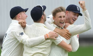 England captain Joe Root celebrates the wicket of Rassie van der Dussen during the third Test