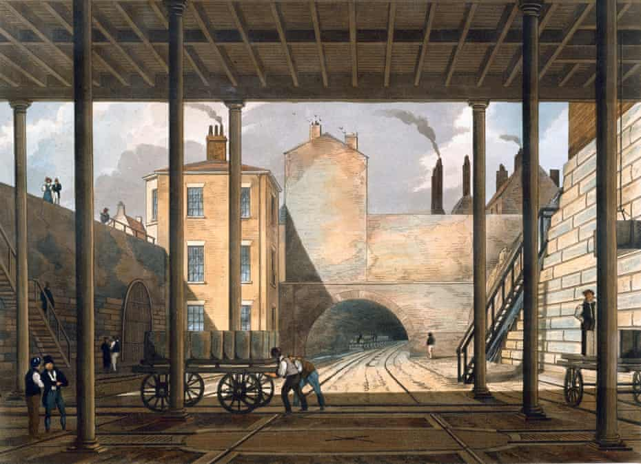Warehouses beneath Liverpool docks and the world's first intercity railway, between Liverpool and Manchester, 1832-33.