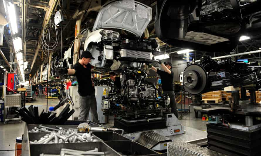 Nissan staff working on the Qashqai in Sunderland, the largest car plant in the UK.