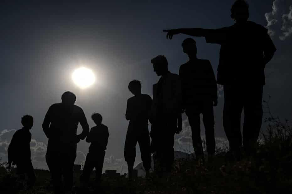 Afghan migrants after crossing the Iran-Turkish border