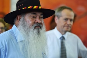 The Labor leader, Bill Shorten (right), campaigns in Cairns with senator Pat Dodson.