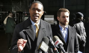 Ritchie Torres, left, a New York City council member and Aaron Carr, executive director of Housing Rights Initiative, outside Kushner Companies headquarters in New York.