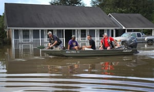 Flooded homes in Baton Rouge, Louisiana.