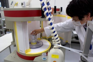Food samples are checked for radiation levels at the Fukushima Agricultural Technology Centre.