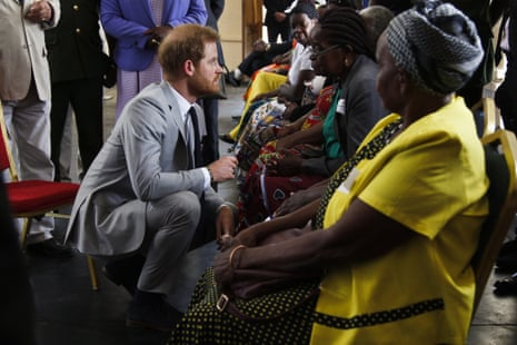 Prince Harry attends a meet-and-greet with WWII veterans and war widows at Burma Barracks in Lusaka, Zambia.