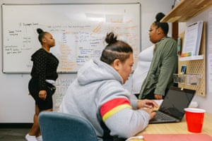 Tenaya Jones, Ki Finao and Storm Green-Loe with the Young Women Freedom Center plan a town hall meeting, 29 October 2019 in San Francisco.