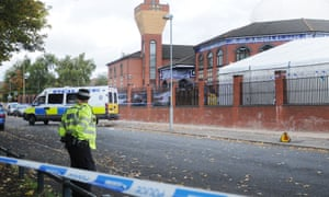 A police cordon at the scene of a stabbing outside a mosque in Birmingham